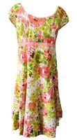 Per Una Size 16 Long Floral Cotton Fit Flare Watercolor Green Orange Tea Dress