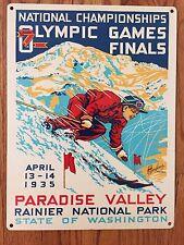 Paradise Valley Mt Rainier Washington Ski Skiing Vintage Poster Metal Sign Decor