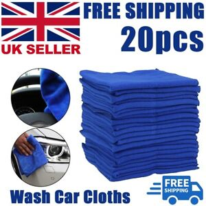 20x Large Detailing Cleaning Car Soft Cloths Microfibre Ultra Absorbant Blue