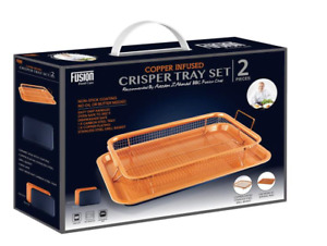 Copper Crisper Non-Stick Oven Mesh Baking Tray Chips Crisping Basket- Set of 2 P