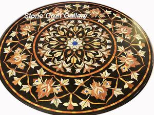 "36"" Marble Coffee Table Top Floral Semi precious stones Inlay Handmade Decor"