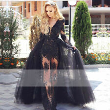 Long Sleeve Black Mermaid Evening Dresses Sheer Tulle Lace Women Formal Gown
