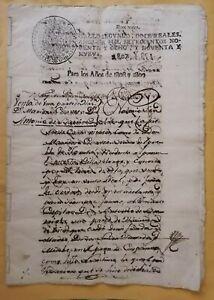 SPAIN Peru spanish colonial farm hacienda notarial sale contract manuscript 1808