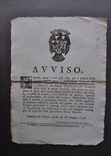 Avviso Caccia Asta Affitto Terreni Finale S. Martino Cortile Modena Estensi 1753