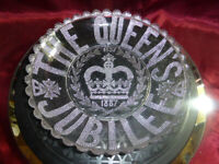 QUEEN VICTORIA Golden Jubilee 1887 Decorated Glass Dish ROYAL WARE MEMORABILIA