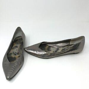Sam Edelman Isador Snake Python Embossed Patent Leather Silver Metallic Flats 8