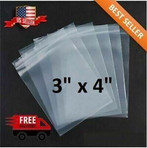 Cookies Screws Beads Moonwish 3x4inch 400 Count Plastic Bags,Clear Resealable Zipper Poly Bags for Jewelry Pill