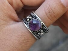 Large Adjustable Tibetan Round Amethyst Gemstone Weaving Dotted Amulet Ring