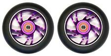 2x BulletProof Scooter Wheels Metal Alloy Core 100mm ABEC 9 Bearings PURPLE