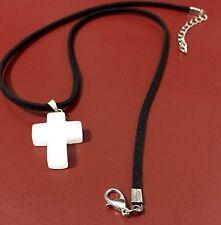 Para Hombres Color Blanco Apagado encantos Cruz Colgante Collar De Piedra Natural