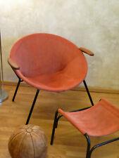 Orig. Balloon chair + tabouret/stool Hans Olsen Denmark LEA Design Daim Rouge