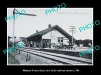 OLD LARGE HISTORIC PHOTO OF MADISON CONNECTICUT, THE RAILROAD STATION c1900