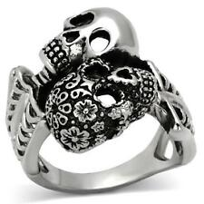 1039 SKULL BLACK CZ RING GOTHIC DAY OF THE DEAD STAINLESS STEEL NO TARNISH