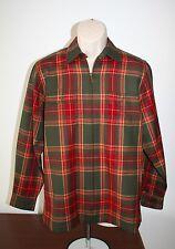 Ralph Lauren Mens Medium Wool Jacket Green Label Plaid Red Green Zipper EUC