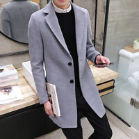 Vogue Men's Winter Coat Long Wool Jacket Collar Slim Outwear Trench coat Size