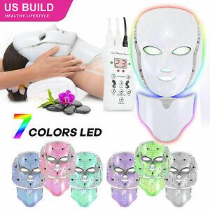 7 Colors LED Light Photon Face Neck Mask Rejuvenation Facial Therapy Anti-Aging