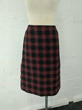1960s Vintage Women's Red Black Grey 100% Wool Welsh Tapestry Skirt 40 / Us 10