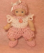 Handmade Romper set for Miniature Baby Doll 2 - 2 1/2 inch size doll