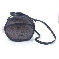 NWT Coach Women Canteen Round Glitter Small Crossbody Bag Rainbow Navy Blue $299