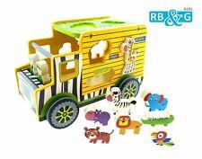 RB&G SAFARI-TRUCK Holzspielzeug Lern und Motorikspielwagen Steckspiel Zoo Tiere
