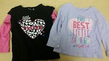 Two long sleeve girls 24 mo, 2T shirts, little sister, Childrens Place & Jumping