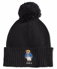 $185 POLO RALPH LAUREN Men BLACK THERMAL POM CUFFED KNIT WINTER CAP HAT BEANIE