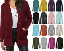 women grandad style button up chunky cable knit boy friend long sleeve cardigan