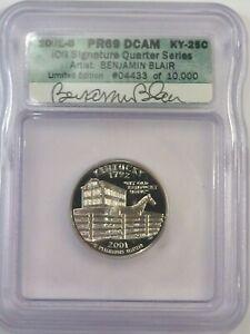 2001-s Proof Kentucky State Quarter Signed: Benjamin Blair ICG PR69DCAM. #30