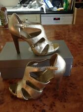 """SIZE 4.5 EU 47.5 US 6.5 GOLD LEATHER UPPER SHOES STRAPPY EVENNG TAHARI 4"""" HEELS"""