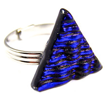 """Ring Dichroic Glass Navy Blue Sapphire Striped Ripple Wavy Adjustable 3/4"""" 19mm"""