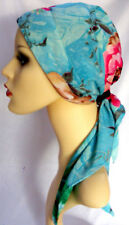 Chemo Head Scarf cancer, hair loss, alopecia. Padded, easy fasten.  Blue floral