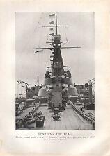 1918 WW1 WORLD WAR I PRINT ~ GUARDING THE FLAG TURRETS OF HMS CONQUEROR