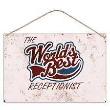 The Worlds Mejor Recepcionista - Estilo Vintage Metal Grande Placa Letrero