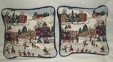"""8""""  Winter Holiday Tapestry Mini Throw Pillow Set Christmas Holiday Decorations"""