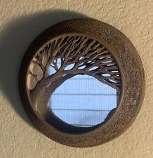 """Antique Mid Century Oak Tree Round Wall Mirror Oaks Pottery Illinois 7"""""""