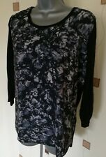 TOP BLOUSE 14 42 MEDIUM BLACK PRINT KNIT
