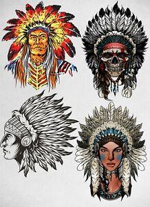 Set of 4 Native Indians Quality Temporary Waterproof Tattoos - Women, Men, Kids