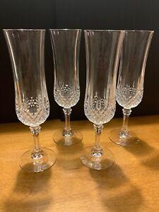4 Vintage Lead Crystal Champagne Wine Flute w Diamond Ribbed Pattern