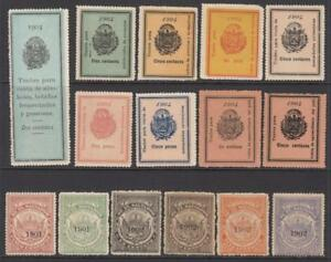 Salvador Revenues 15 diff unused stamps dated 1901-1907