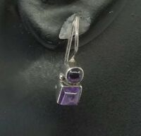 Vtg Sterling Silver Handmade Earrings, 925 Dangles W/ Amethyst Inlay