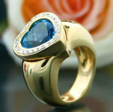 Anillo Topacio Azul Forma brillantes oro amarillo 750 MACIZO 20 gramos