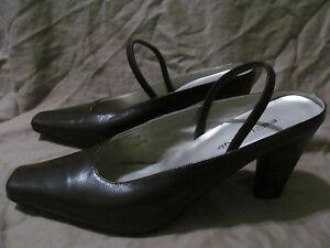 Women's Bellini Carlee Square Toe Espresso Brown Leather Heels Mules Size 11.5