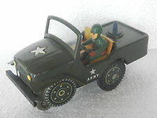 Vintage Mt Trademark Star Army Jeep Battery Tin Toy , Japan