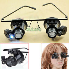 20X Eyeglasses Magnifying LED Light Jewelry Watch Clock Repair Magnifier Loupe