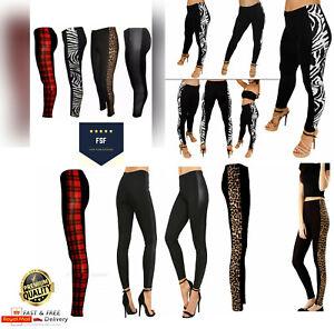 Women's Ladies Side Panel Printed Skinny Pants Jegging Full Length Leggings 8-26