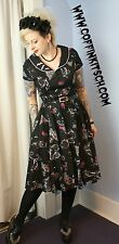 Hell Bunny SM Kalonice Retro Swing Dress Halloween Bats Glamour Ghoul Pinup Goth