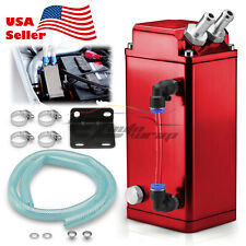 Red Billet Square Aluminum Engine Oil Catch Tank Can Reservoir Breather Kit #2