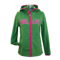 Woman Fleece Zip Hooded Shirt Sage and Pink Ireland Hoodie Front Pockets