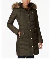 XXS Michael Kors Jacket Coat Puffer Down Hood Faux Fur Green