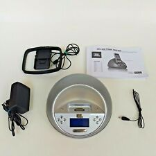 JBL On Time Micro AM/FM Radio Portable Speaker Dock With Alarm Silver EUC
